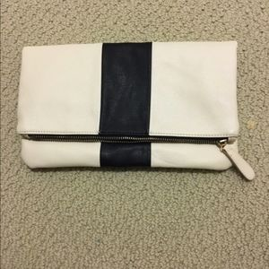 Off white fold over clutch